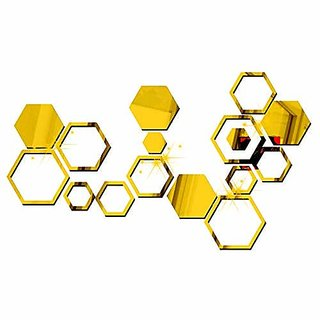 Bikri Kendra - Premium 4 Hexagon 3D Acrylic Mirror 12 Hexagon Rings Golden - Wall Decor Stickers for Home and Office