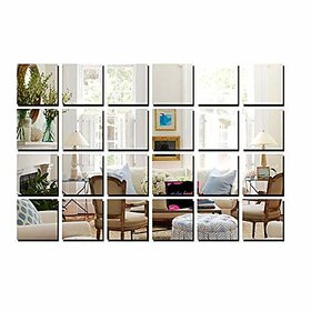 Bikri Kendra Premium Big Square Silver 3d Acrylic Mirror Wall Decor Stickers for Home and Office Standard(Silver BNSWF71) - Set of 24