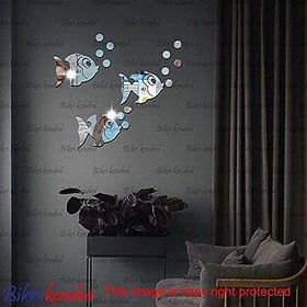 Bikri Kendra - Beautiful Fish Set Silver - 3D Acrylic Mirror Wall Stickers - B07DNFLPGG