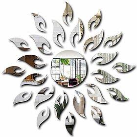 Bikri Kendra Silver Acrylic Sun 3D Mirror Wall Décor Stickers
