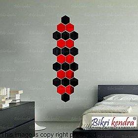 Bikri Kendra - Hexagon 24 Piece 14 Black 8 Red - 3D Acrylic Mirror Wall Stickers - B07DNFYHN8