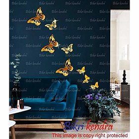 Bikri Kendra - 3D Acrylic Mirror Wall Stickers For Living Room Bed Room Kids Room Home & Office - Butterfly Golden ( L-3 M-2 S-3 )3D95