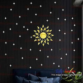 Bikri Kendra - Sun Golden with 50 Silver Star - 3D Acrylic Mirror Wall Stickers - Premium Collection