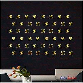 Bikri Kendra - swastik Golden 50-3D Acrylic Mirror Wall Stickers - Premium Collection