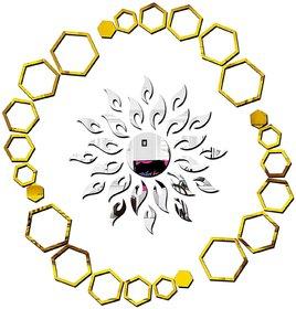 Bikri Kendra - Sun Silver 24 Hexagon Ring Golden - 3D Acrylic Mirror Wall Stickers - Premium Collection