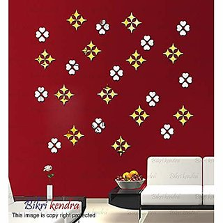 Bikri Kendra - Star 50 Golden with 50 Heart Silver - 3D Acrylic Mirror Wall Stickers - Premium Collection