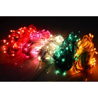 DLT Set of 10 (RANDOM Colour) Rice light of 13 meter Serial bulbs decoration lighting for diwali christmas with 10+1 connectors wire jointer (female sockets)