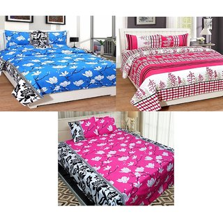 Pack of 3 Urban Home Multicolor Cotton Double Bedsheet and Pillow Covers