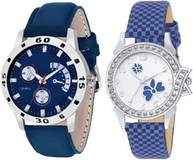 Amino Blue And Silver And White Quartz Couple Watch