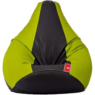 Green Black Bean Bag cover L SIZE Without Fillers by Comfy