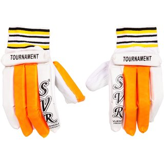 SVR Cricket Batting Gloves in Orange White for Youth - Pack of 2 Youth Size Lightweight Sheet Quality
