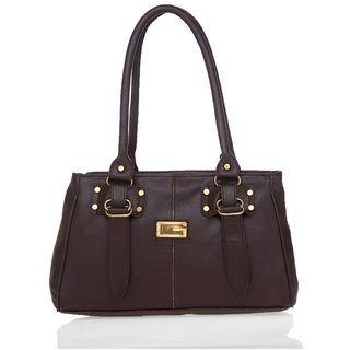 Lady Queen Brown Faux Leather Shoulder Bag