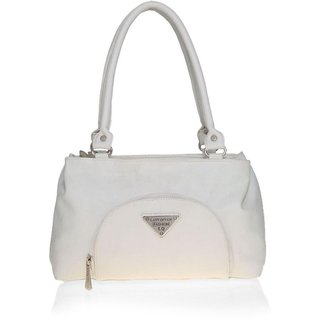 Lady Queen White Faux Leather Shoulder Bag