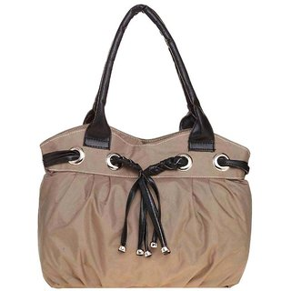 Lady Queen Beige Fabric Shoulder Bag