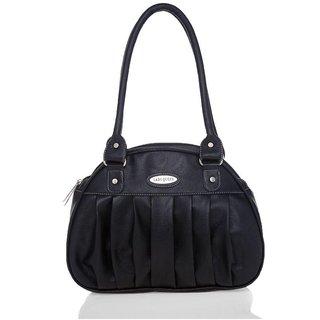 Lady Queen Black Faux Leather Shoulder Bag