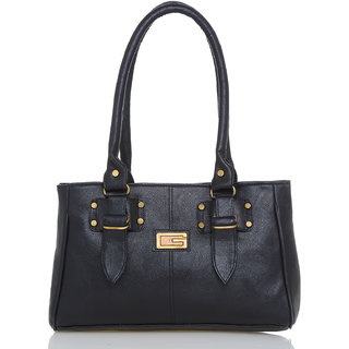 Lady Queen Black Faux Leather Shoulder Bag