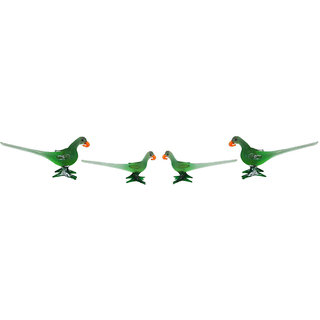 Buy The Rajasthali Home Decor And Gift Items Green Glass Showpiece Beautiful Parrot Combo Pack Of 4 Online