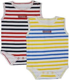 Tumble Stripe Print Sleeveless Baby Onesies (Pack of 2) (6-9 Months)