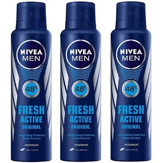 Nivea 3 Fresh Active deo 150ml each For Men Pack of 3