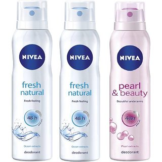 Nivea 2 Fresh Natural 1 Pearl Beauty deo 150ml each For Women Pack of 3