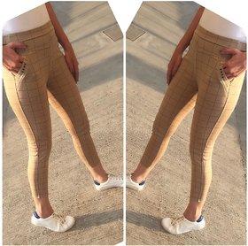Beige Color Check's Stretchable Pants / Jeggings /Gym Wear /Yoga Wear /Casual Wear /Sport's Wear