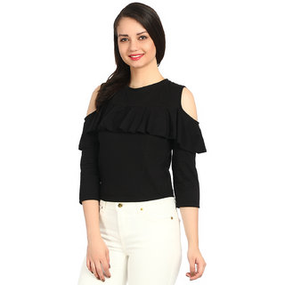 a7a03ecb965e4 Buy Raabta Black Cold Shoulder Top With full sleeves Online - Get 76 ...