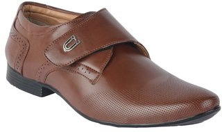 Port Men's Brown Synthetic Velcro Formal Shoes