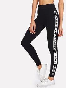 Black Letter Side Slogan Print Stretchable Leggings / Gym Wear /Yoga Wear /Running Wear