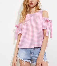 Code Yellow Women's Pink and White Check Cold ShoulderTop