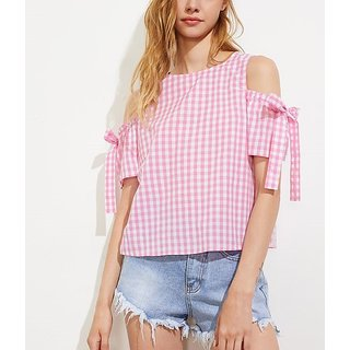 e6b88f23f8270 Buy Code Yellow Women s Pink and White Check Cold Shoulder Top Online - Get  57% Off