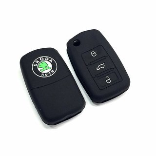 High Quality Silicone Key Cover For Skoda Rapid ( Black )