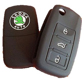 3btn blk tfs Skoda Car Key Cover