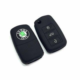 India Marche Silicone Cover Black For Skoda 3 Button Flip Key
