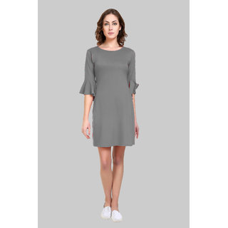 Short Dress with Ruffled Sleeves Green Jersey Dress By Klick2style