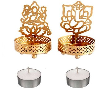 Golden Metal Decorative Shadow Divine Lord Ganpatiji and Laxmi Ji Tealight Candle Holder
