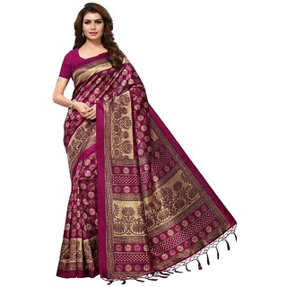 FASHION MADE MYSORE SILK PRINTED SAREE WITH BLAUSE PIECE UNSTICHED.