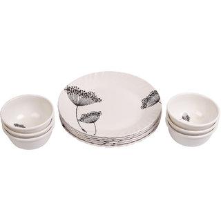 Czar 6 Pcs Brown flower Half Plate with 6 Pcs Veg Bowl