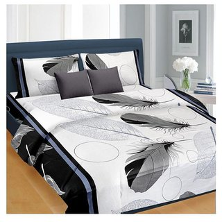 Delite  White Patti Double Bedsheet Pack of  1 +2 Pillow Cover
