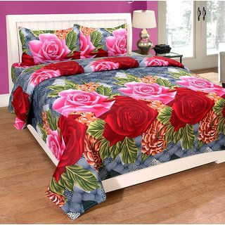Delite Red Pink Rose Bedsheet pack of 1
