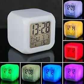7 Color Changing Clock Square Shape Digital Alarm Table Clock With Calendar Time Temperature (Pack of 1)