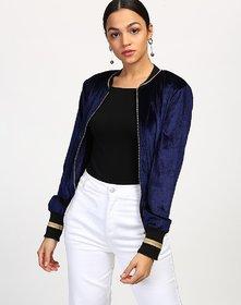Code Yellow Women's Blue Velvet Biker Zipper Jacket