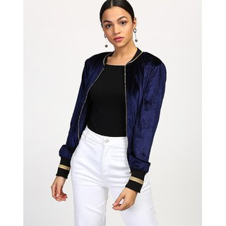 Code Yellow Women's Blue Velvet Biker Zipper Jacket