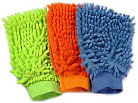 Set On 3 Microfiber Cleaning Gloves Hand Duster For Car S And Bikes