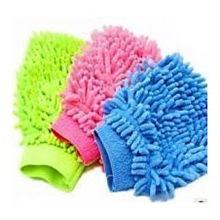 Set On 3 Microfiber Cleaning Gloves Hand Duster For Car S And Bikes single side