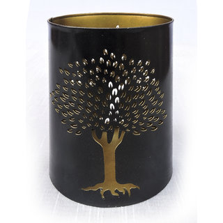 H  W Black/Gold Metal Table Candle Holder for Diwali- Set of 1 (11 x 11 x 16 cm)