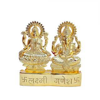 Gifts  Decor Gold Plated Metal Decorative Sitting Laxmi Ganesh Idol for Home, Office and Car Dashboard