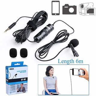 Boya Omnidirectional Lavalier Condenser Microphone with 20ft Audio Cable- for DSLRs Camcorders