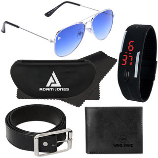 Adam Jones Gradient Blue UV Protecteion Unisex Aviator Sunglasses with free Silicone digital LED band watch+Wallet+Belt