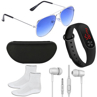 Adam Jones Gradient Blue UV Protection Unisex Aviator Sunglasses with Silicone digital LED band watch+Earphone+Socks