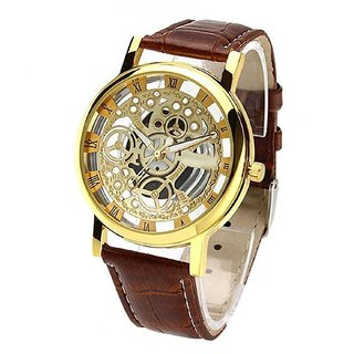 Transparent Skeleton Watch Brown Belt Analog Men Watch By Hans